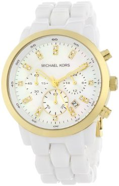 Michael Kors Quartz, Mother of Pearl Dial with White Acrylic Band - Womens Watch MK5218