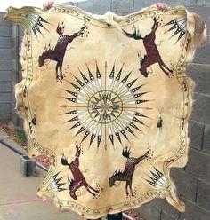 Plains Hide Painting | Native American Style Mule Deer Hide Painting Plains Indian Western ...