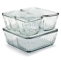 Glasbehälter mit Deckel. Temperaturwechselbeständiges Preßglas, ofenfest bis +218 °C und für Kühl- wie Gefrierschrank geeignet. - Anchor Glasbehälter