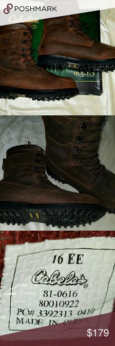 Cabelas Boots Cabelas Outfitters Series nens size 16EE gortex waterproof leather boots. Excellent new in box . These are  heavy well over the 5 lb. weight limit on priority mail. I am willing to split the extra shipping cost. Cabelas Outfitters   Shoes Boots