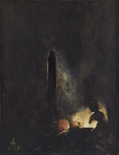 Children Praying in the Dark, 2014 Acrylics on paper, 29.5 x 22.5 cm -Denis Forkas Kostromitin