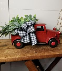 Red Truck Christmas old timey Christmas truck Christmas tree primitive Christmas farmhouse Christmas Christmas decor holiday decor Christmas Truck, Plaid Christmas, Christmas Images, White Christmas, Christmas Wreaths, Christmas Crafts, Christmas Ideas, Christmas Snowman, Xmas