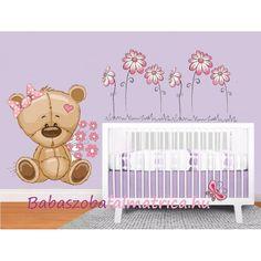 Teddy maci babaszoba falmatrica #babaszoba #macis #falmatrica #gyerek #gyerekszoba #faldekoráció Bear Cartoon, Cribs, Toddler Bed, Pink, Furniture, Home Decor, Cots, Child Bed, Cartoon Bear