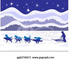 alaskan sled dogs drawing | Musher and sled dogs by starlight