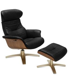 VIG Furniture - Divani Casa Charles Modern Black Leather Reclining Chair w/ Ottoman - Recliner With Ottoman, Swivel Recliner, Recliners, Recliner Chairs, Lounge Chairs, Room Chairs, Leather Swivel Chair, Leather Sofa, Soft Leather