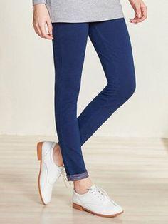 Blue Denim Casual Skinny Leg Pants  ||| StyleWe |||