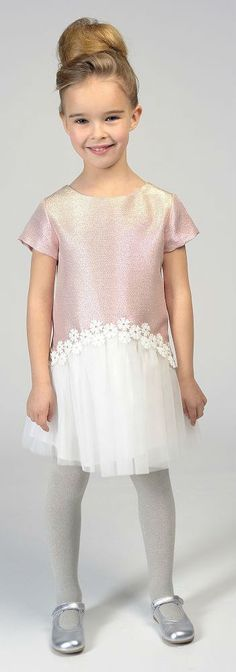 Beautiful Girls Clothing by Charabia. Gorgeous CHARABIA Girls Metallic Pink & Tulle Dress. Perfect party dress for a special occasion.