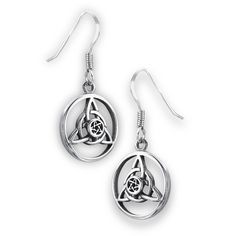 Sterling Silver Celtic Circle Trinity Dangle Earrings