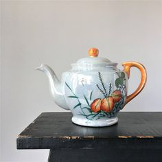 Lusterware Teapot, Vintage Japanese Teapot, Hand Painted Lustreware... ($26) ❤ liked on Polyvore featuring home, kitchen & dining, teapots, porcelain tea pots, tea pot, tea-pot and porcelain teapot