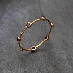 Garnet & Brass Bangle // Golden Gemstone Bracelet // Elegant | Etsy Gold Bangles Design, Gold Earrings Designs, Gold Jewellery Design, Gold Jewelry Simple, Schmuck Design, Sterling Silver Jewelry, Crystal Jewelry, Egyptian Jewelry, Egyptian Art