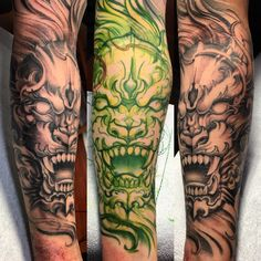 52 ideas for tattoo sleeve lion foo dog Calf Tattoo, Forearm Tattoos, Body Art Tattoos, Hand Tattoos, Cool Tattoos, Buddha Tattoos, Tattoo Ink, Japanese Tattoo Designs, Japanese Sleeve Tattoos