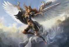 A commissional work for TheAnonymousKevin, displaying his girlfriend as a fantasy valkyrie