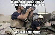 """No, seriously. it goes the same for a """"man"""" who is """"afraid"""" of having guns in the house for """"safety"""" . 2 words for you: Buh Bye! Camouflage, Hidden Agenda, Gun Quotes, Beard Quotes, Survival, Pro Gun, Military Humor, Military Service, Iraq War"""