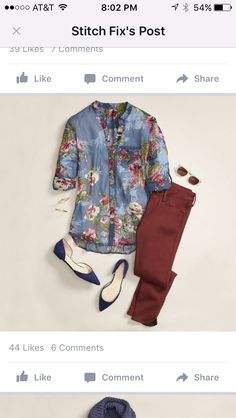 Go casual for girl's night in a moody floral blouse and burgundy jeans. Stitch Fix: like the jeans, and not usually a floral person, but with it being a larger print it may not be overwhelming. Look Fashion, Autumn Fashion, Fashion Outfits, Fix Clothing, Looks Jeans, Look 2018, Stitch Fix Fall, Stitch Fix Outfits, Stitch Fix Stylist