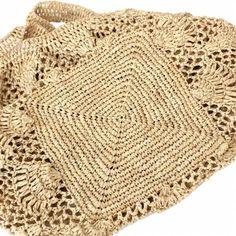 ラフィアかぎ編みバッグ パイナップル編み四角底 ナチュラル - マダガスカル - MANGOROBE | マンゴロベ