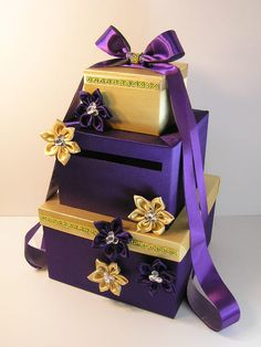Purple and Gold Wedding Card Box Gift Card Box by bwithustudio, $105.00