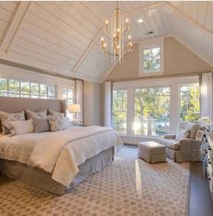 light and bright master bedroom, vaulted ceiling Vaulted Ceiling Bedroom, Cathedral Ceiling Bedroom, Vaulted Ceilings, Home Bedroom, Bedroom Decor, Bedroom Ideas, Master Bedroom Addition, Master Suite Bedroom, Home Additions