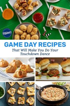 What's a better feeling than watching your team score a touchdown? The same thing, but with a yummy game day snack in your hand! Game Day Snacks, Game Day Food, Game Day Shirts, Pillsbury, Appetizers For Party, Easy Meals, Food And Drink, Yummy Food, Treats