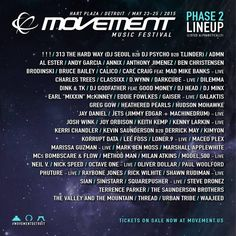 Movement 2015 Lineup - Movement, Detroit's Electronic Music Festival, returns again in 2015 with lineup of techno, house, and electronic music performers.