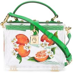 Transparent and green acrylic and leather 'Dolce' box tote from Dolce & Gabbana featuring a top handle, a padlock fastening detail, a detachable and adjustable shoulder strap and an orange blossom design. #DolceGabbana #DG #designerhandbag