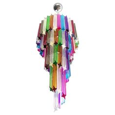 Pair Of Venini Chandeliers / Pendants - Murano Multi-Color 86 Quadriedri Prism Mariangela Model Italian Mid-Century Modern Murano Glass