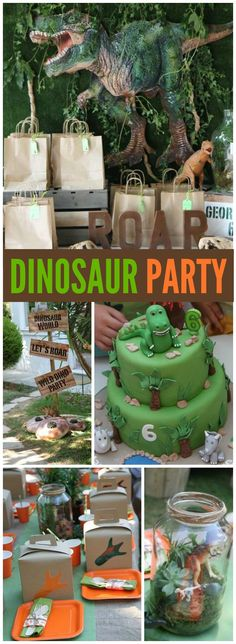 What an amazing dinosaur party with fun activities! See more party ideas at CatchMyParty.com!