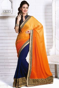 Portland Orange and Sapphire Blue Embroidered Party and Festival Saree Sku Code:324-4943SA779714 US $ 50.00 http://www.sareez.com/product_info.php?products_id=159883