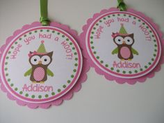 owl party favor tags