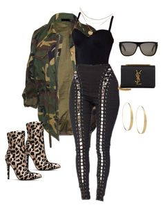 """camo"" by alyannaclothing on Polyvore featuring Yves Saint Laurent, Lana and camouflage"