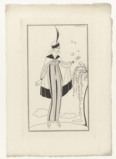 Anonymous | Journal des Dames et des Modes, Costumes Parisiens, 1914, No. 150, Anonymous, 1914 | Vrouw in japon met lange mouwen van gestreept linnen, waarover een kleine cape van fluweel.. Cloche (pothoed) met veer. Zij staat bij een struik met vlinders. Proefdruk van een prent uit het modetijdschrift Journal des Dames et des Modes (1912-1914).