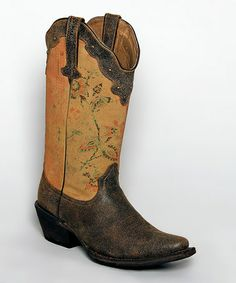 Orix & Kashmir Crackle Floral Embroidered Leather Cowboy Boots by Tanner Mark Boots #zulily #zulilyfinds