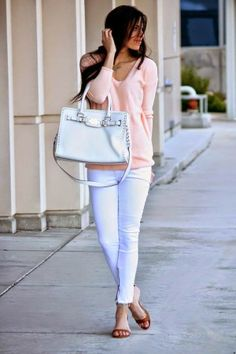 Styled! *blush sweater + white jeans + brown wedge sandal + white bag // XOXO CLEVERLY YOURS