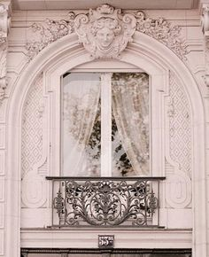 Ornate Pink Paris Window with Black Wrought Iron Balcony Amazing Architecture, Architecture Details, Paris Architecture, Interior And Exterior, Interior Design, Belle Villa, Paris Apartments, Architectural Elements, Windows And Doors