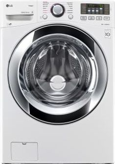 LG WM3670HWA 27 Inch 4.5 cu. ft. Front Load Washer with 9 Wash Cycles, Steam, Sanitary Cycle, Allergen Cycle, NeveRust Stainless Steel Drum, NFC Tag-On Technology, LoDecibel Quiet Operation, 4-Tray Dispenser and TrueBalance Anti-Vibration System: White