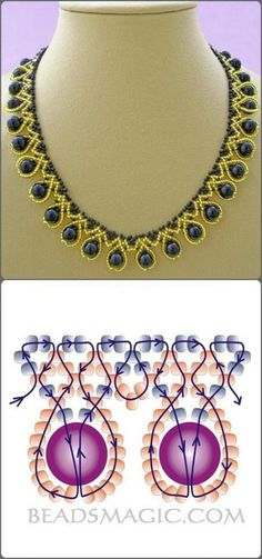 Collar dorado y goldene und blaue Halskette mit Umriss Source by dkrawwczyk Rhonda's Creative Life such a pretty way to manipulate stripes Free pattern for necklace Tend collar blue pearl with seed beads Seed Bead Jewelry, Bead Jewellery, Seed Beads, Beading Jewelry, Jewelry Making Beads, Jewellery Making, Bead Earrings, Jewelry Findings, Diamond Jewelry