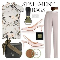 """""""Carry On: Statement Bags"""" by amartinez-m ❤ liked on Polyvore featuring Dorothy Perkins, Jil Sander, Chesca, Gianvito Rossi, Oribe, Bobbi Brown Cosmetics and statementbags"""