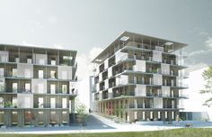 Kjellander + Sjöberg Architects - Plus-energy Houses Brofästet - View from Husarviksgatan