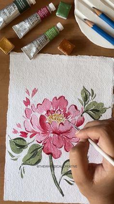 Watercolor Flowers Tutorial, Watercolor Kit, Watercolor Painting Techniques, Watercolor Illustration, Watercolour Painting, Floral Watercolor, Typography Drawing, Sunflower Art, Aesthetic Art