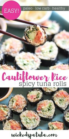 Cauliflower rice sushi is the paleo sushi recipe you have been looking for! These spicy tuna rolls are flavorful and EASY! Cauliflower sushi is healthy too. Sushi with cauliflower rice is a terrific alternative to regular sushi. Paleo Sushi, Spicy Tuna Sushi, Low Carb Sushi, Spicy Tuna Roll, Tuna Roll Sushi, Healthy Sushi Rolls, Best Sushi Rolls, Healthy Food, Stay Healthy