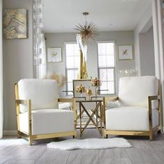 "#ZGallerieMoment: Gold is the electrifying ""it"" color for any season, and we can't stop lusting after @t.mcm17's gold & white styling in room after room. Tap the link in our bio to shop all her fabulous #boldglamour pieces! #ModernLivingRooms"