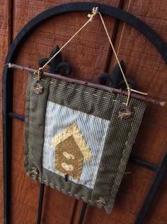 Small Wall Hanging Birdhouses & Buttons Quilted Textile Art Green and Blue. $18.00, via Etsy.