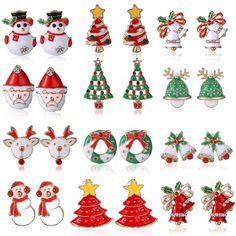 새로운 패션 여성 산타 클로스 눈사람 사랑스러운 트리 벨 크리스마스 보석 크리스마스 귀걸이 여성 선물 EH043