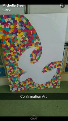 I'd draw out the dove in pencil then people could add the squares. It could make a good prayer activity for pentecost