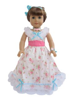 """18'' American Girl Doll Clothes: Victorian Flower Dress Outfit for 18"""" Doll, 18'' doll clothes, 18'' doll outfit, American Girl Outfit#1076"""