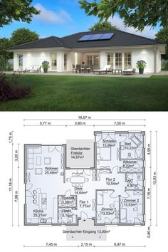 Bungalow house in country style with hipped roof Architecture & wood facade, floor plan in Uform with terrace – single-family house building at ground level Ideas prefab SH 169 WB by ScanHaus Marlow – HausbauDirekt. Dream House Plans, Modern House Plans, Small House Plans, Modern Houses, New Home Plans, Family Home Plans, House Design Plans, Single Storey House Plans, Single Floor House Design