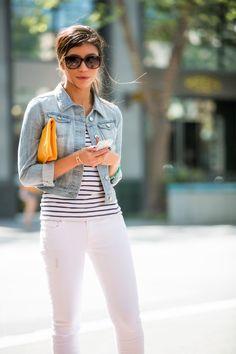 Denim Jacket White Pants Outfit - Stylishlyme.com
