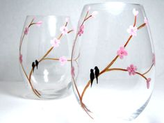 Hand painted stemless wine glasses - I want all of these cute glasses... LOVE. I could have a glass for each day of the year... :)