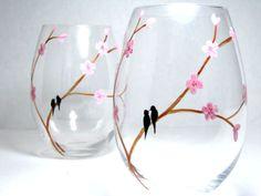 Painted Wine Glasses- Birds on Cherry Blossom Branch, Set of 2. $35.00, via Etsy.