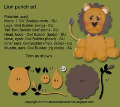 "Alex's Creative Corner: I ""Roar"" for You, lion instructions uses 3 SU punches  Stampin' Up!"