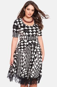 ELOQUII Checkmate Fit & Flare Dress (Plus Size) available at # ...